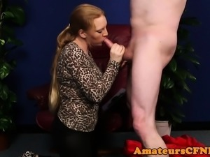 Busty cfnm femdom cocksucking restrained guy