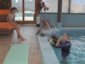Sweet girl seduced by a scuba instructor for a great shag