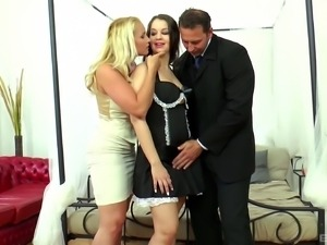 Maid in high heels cock riding huge dick in ffm porn