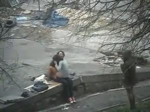Spy video of slutty girl fucking her BF in public park outdoor