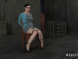 Tattooed big tits slave having her mouth inserted with toy in BDSM