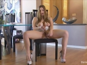 Dildo slides up into her juicy pussy as she masturbates