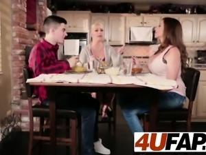 Ariella Ferrera eats cock under the table