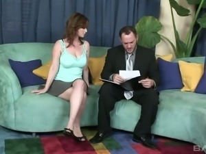 Violet Adamson gives head to her lawyer and then he bangs her pussy doggystyle