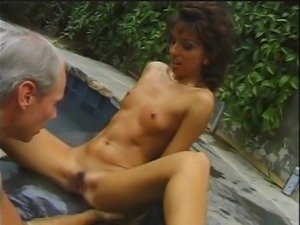 Stunning brunette covered in jizz after plowed by two guys