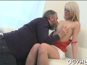 Bewitching young sweetie enjoys rear fuck with old boy