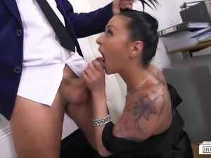Lusty brunette getting fucked doggy style by a nerdy businessman