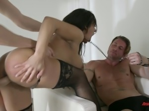 Saucy Latina fuck doll Priya Price looks submissive when 2 wild men fuck her