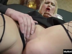 Naughty blonde tart Lucy enjoys being hammered with a thick shaft