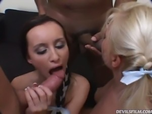 Spoiled petite hottie Kathy Anderson takes part in hard interracial foursome