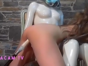 Machine Fucked by StormTrooper and Dildo as her pussy drips