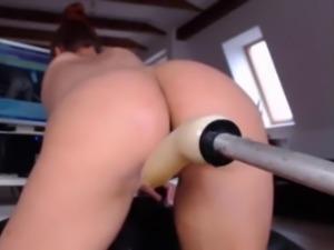 milf watching herself squirt from machine fuck