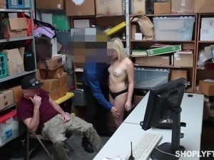 blonde cutie sucks cock to make up for shoplifting