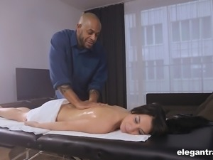 Hot brunette Sandra Luberc bends over for her black lover's dick