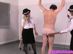 Uniform mistresses pissing on sissy slave