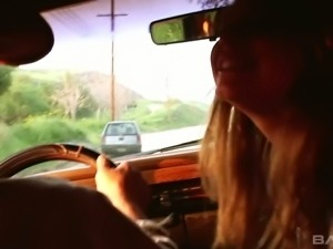 Sweet and playful blondie gives head in the car and shows her sexy ass