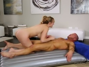 Good looking blond MILF Brett Rossi and horny stud present steamy cowgirl...