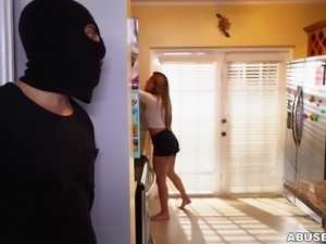 she sucked off the burglar, while she was tied up