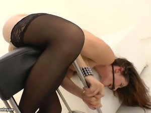 Red head in stockings Tanata gets her anus fucked on a hassock