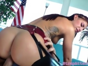 Dominant mistress rides her subs cock
