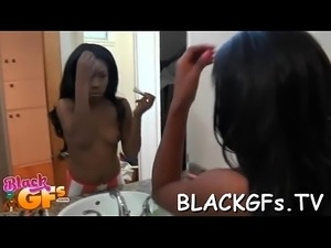 Nice black cutie looks cute on cock