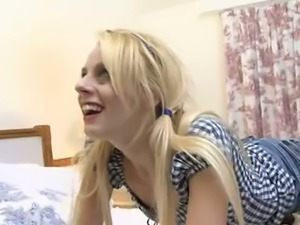 Blond haired pigtailed hooker April Paisley sucks her man off after hard...