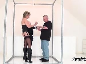 Unfaithful british mature lady sonia flashes her gigantic ba