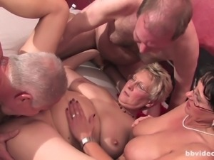 Lustful foursome with ancient folks that's extremely horny