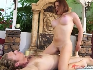 Busty short-haired eye candy receives a massage and a dick