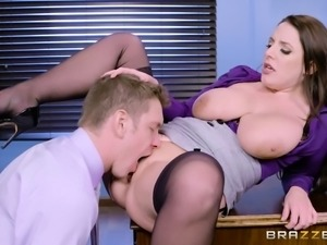 Angela White as a slutty secretary who gets boned on a desk and sofa