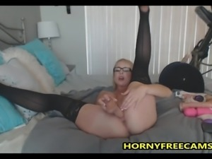 Nerdy Blonde Teacher Milf Masturbates
