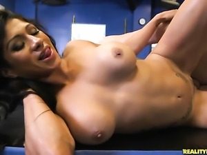 Tattooed Xo Rivera with big tits and shaved bush shows her slutty side in...