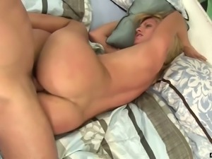 Sweet blonde white lady in black dress seduced and fucked on the bed