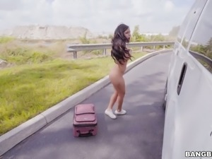 Hot and delicious bronze skin teen picked up in the bangbus