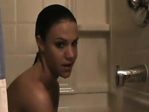 Bath is taken by attractive Addison Grind with nipples