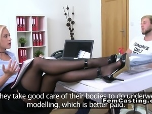 Sexy legged female agent got doggy style in office