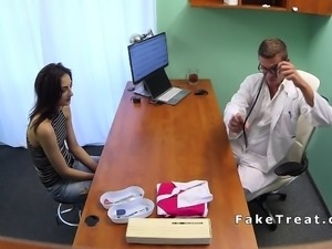 Slim brunette med student bangs doctor
