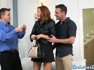 Glam ginger anally spitroasted in threeway