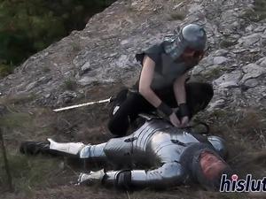 Slender redhead receives a proper anal pounding