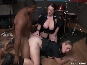 Young black man charged by two white cop ladies and shared for threesome