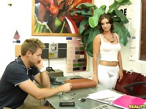 Brunette tramp gagging on hard boner of Levi Cash