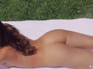 Adorable brunette in white lingerie has an absolutely perfect body