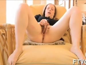Sexual angel is playing with big dildo and tireless vibrator