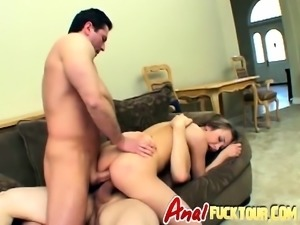 Rough double penetration for chick on couch