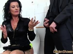 Pee fetish babe cummed