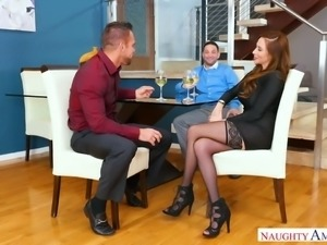 Fine redhead slim sexy girl with big breasts blows dick and fucks on the sofa