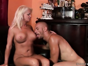 Blonde and hot man are two sex addicts