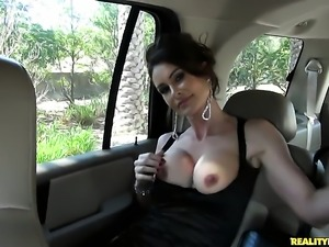 Brunette Nora Noir with giant boobs is horny as hell and sucks dudes rock...
