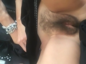 Shooting a load on her hairy pussy before she goes to work