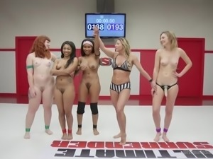 interracial foursome on the wrestling arena
